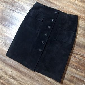 Mossimo Button Down Black Suede Skirt Sz 6